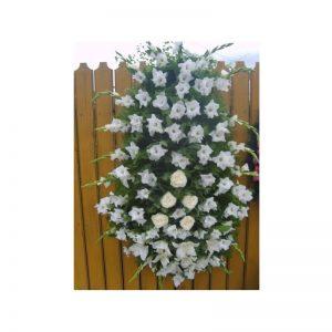 Coroana 60 fire gladiole albe cu trandafiri servicii funerare non stop bucuresti ilfov adysim