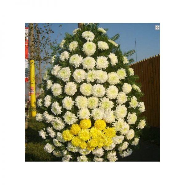 Coroana 80 fire crizanteme de toamna servicii funerare non stop bucuresti ilfov adysim