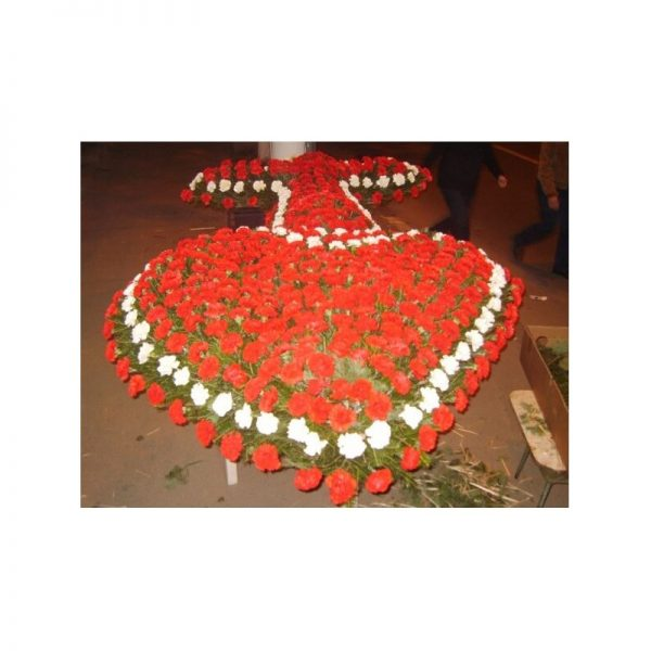 Coroana inima garoafe rosu cu alb servicii funerare non stop bucuresti ilfov adysim