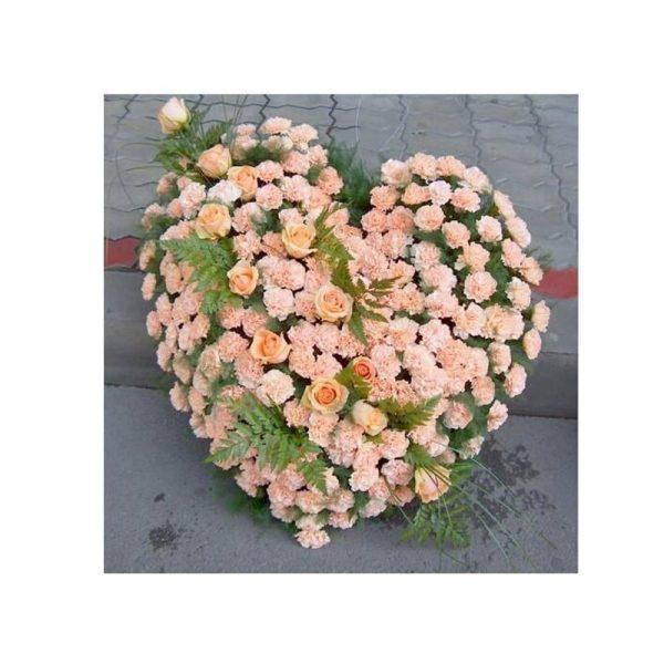 Coroana inima garoafe si trandafiri servicii funerare non stop bucuresti ilfov adysim