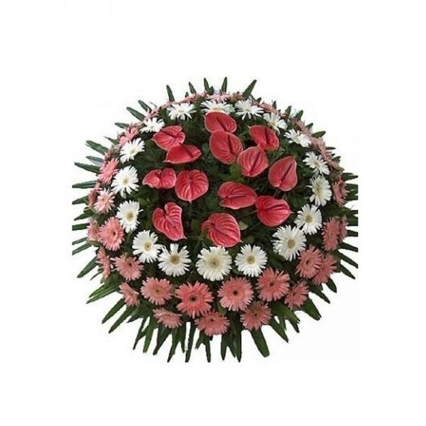 Coroana rotunda gerbera si anthurium servicii funerare non stop bucuresti ilfov adysim